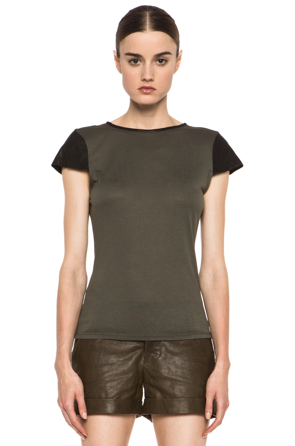 Image 1 of Alice + Olivia Fitted Viscose Tee with Leather in Old Army