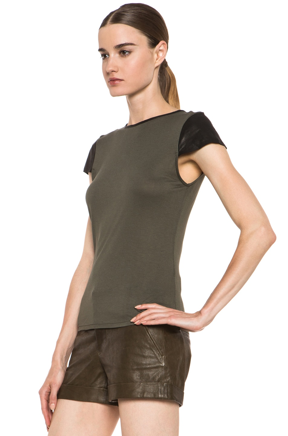 Image 2 of Alice + Olivia Fitted Viscose Tee with Leather in Old Army