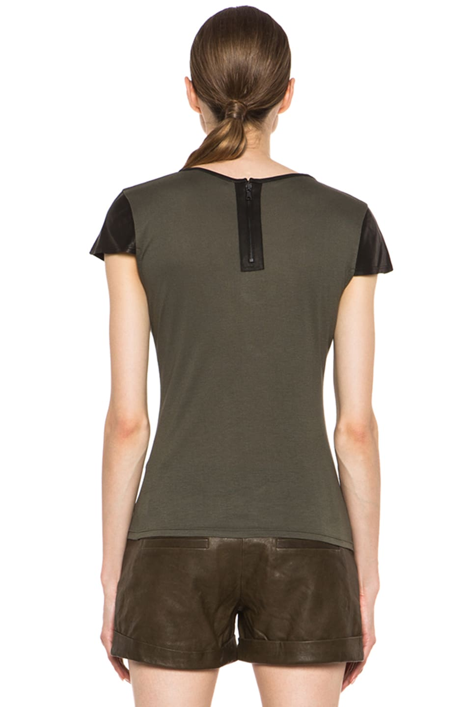 Image 4 of Alice + Olivia Fitted Viscose Tee with Leather in Old Army