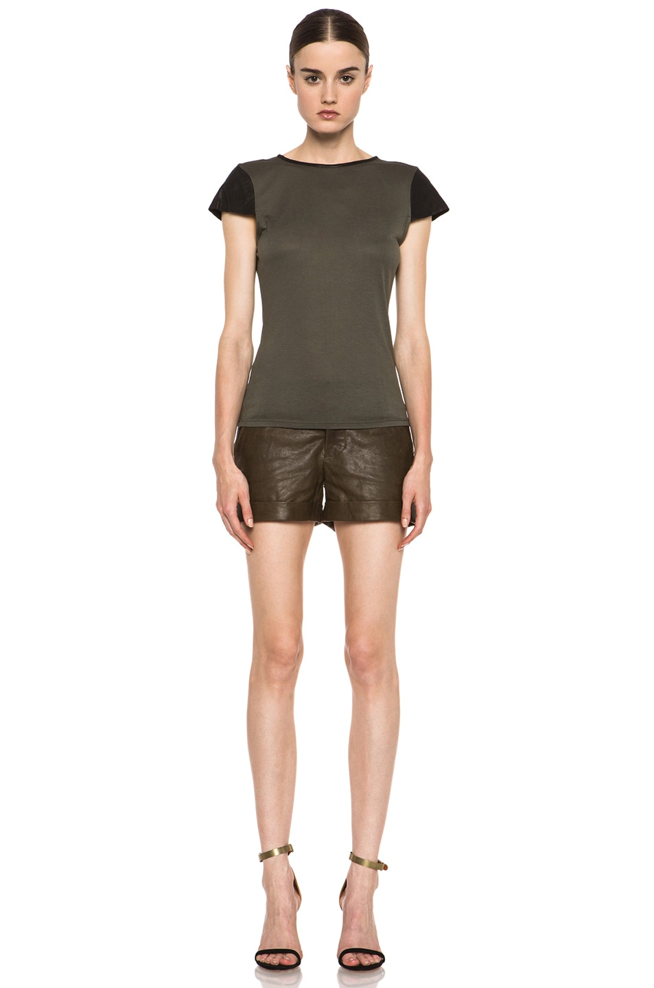 Image 5 of Alice + Olivia Fitted Viscose Tee with Leather in Old Army