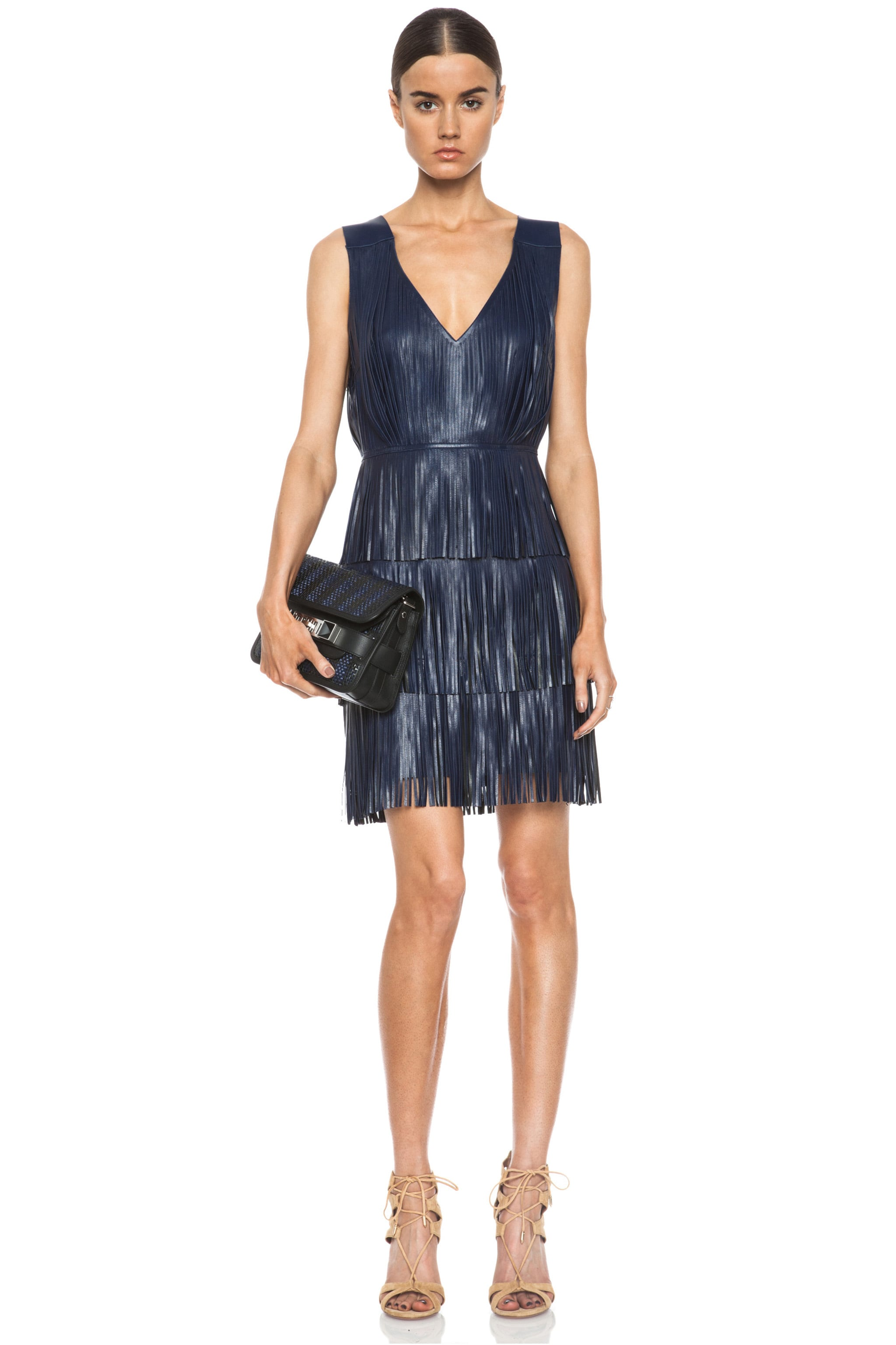 Image 1 of Altuzarra Chrsyanthemum Lambskin Leather Fringe Dress in Navy