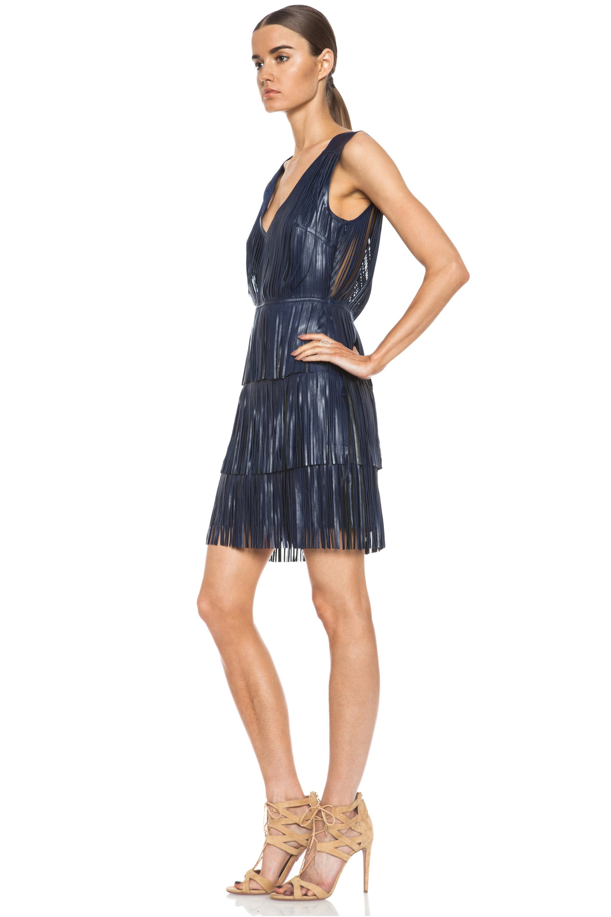 Image 2 of Altuzarra Chrsyanthemum Lambskin Leather Fringe Dress in Navy