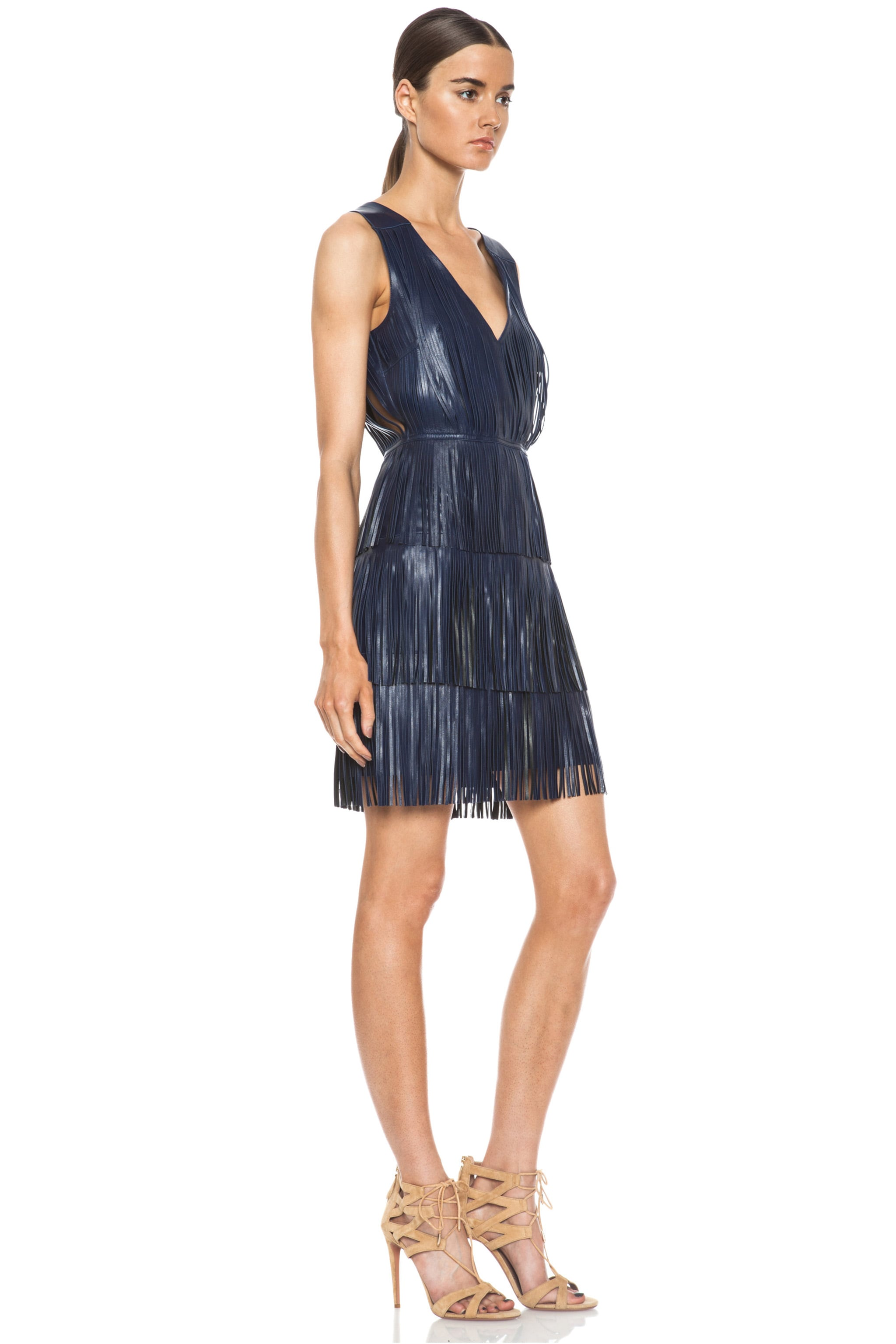 Image 3 of Altuzarra Chrsyanthemum Lambskin Leather Fringe Dress in Navy