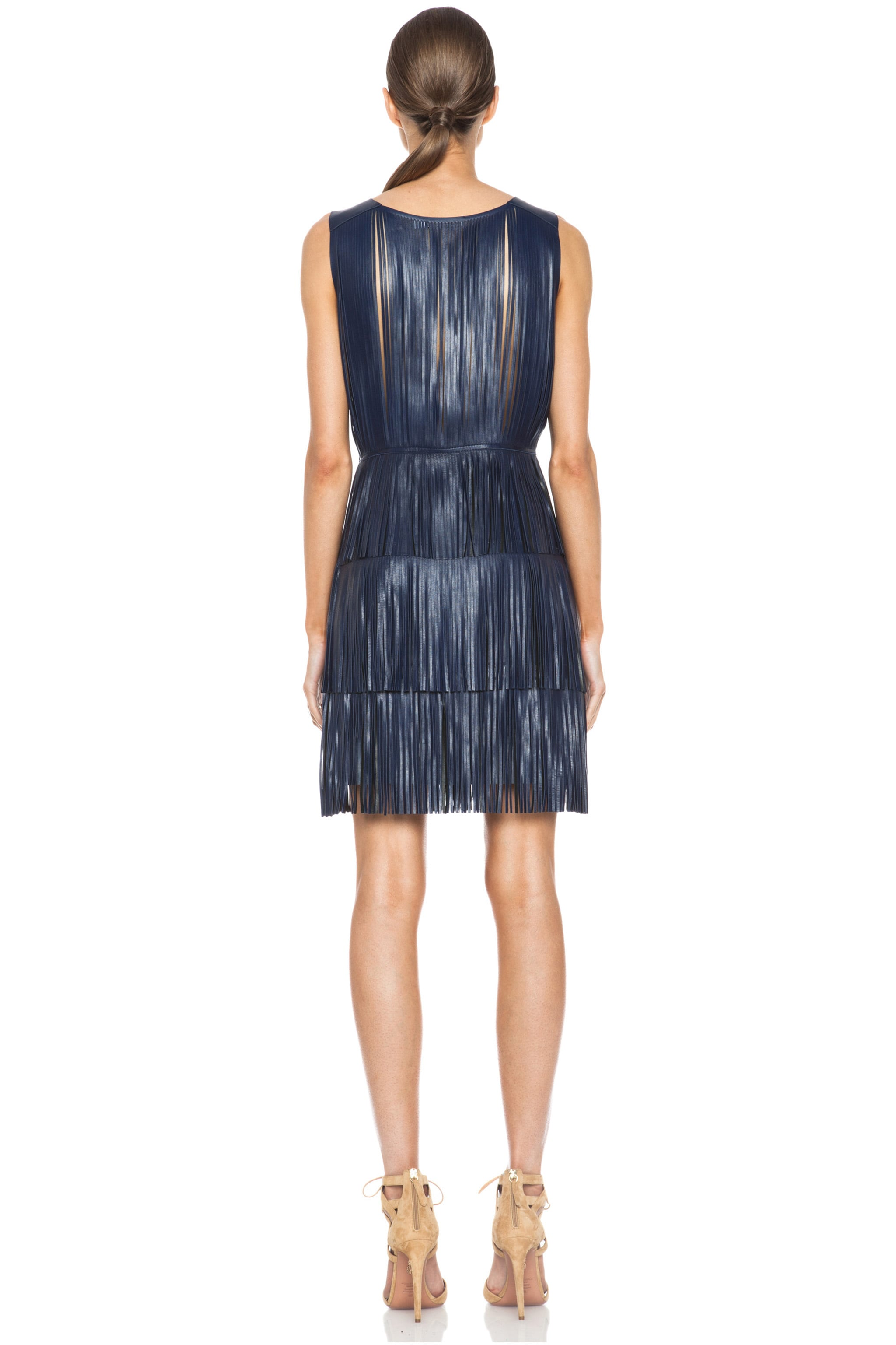 Image 4 of Altuzarra Chrsyanthemum Lambskin Leather Fringe Dress in Navy