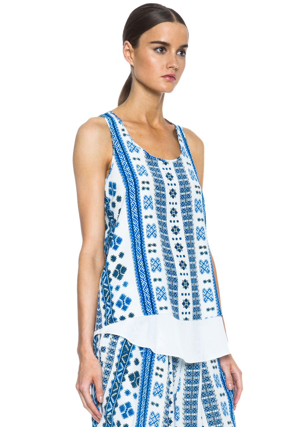 Image 3 of Altuzarra Twinkle Silk Printed Tank in Blue Romanian