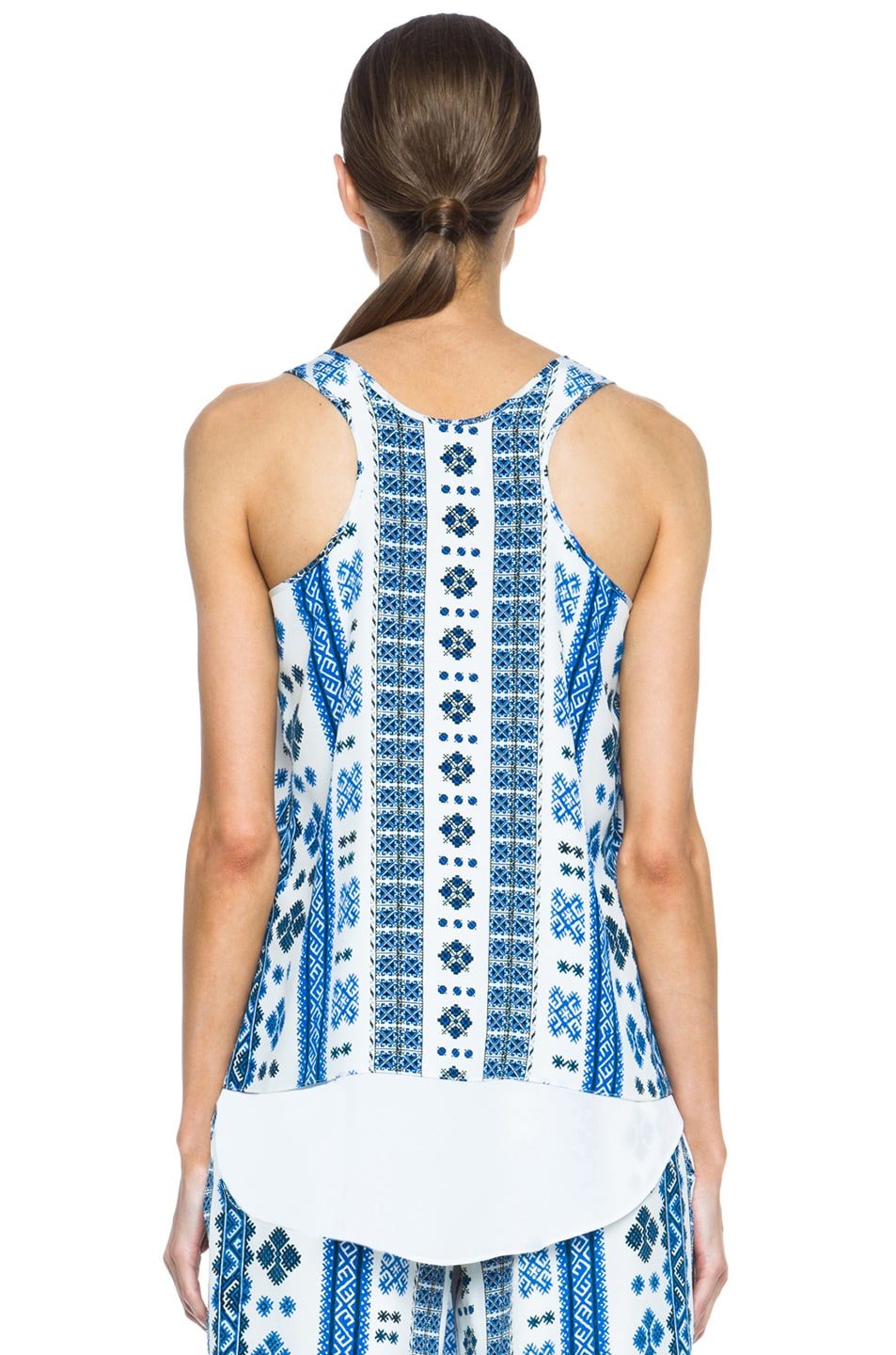 Image 4 of Altuzarra Twinkle Silk Printed Tank in Blue Romanian