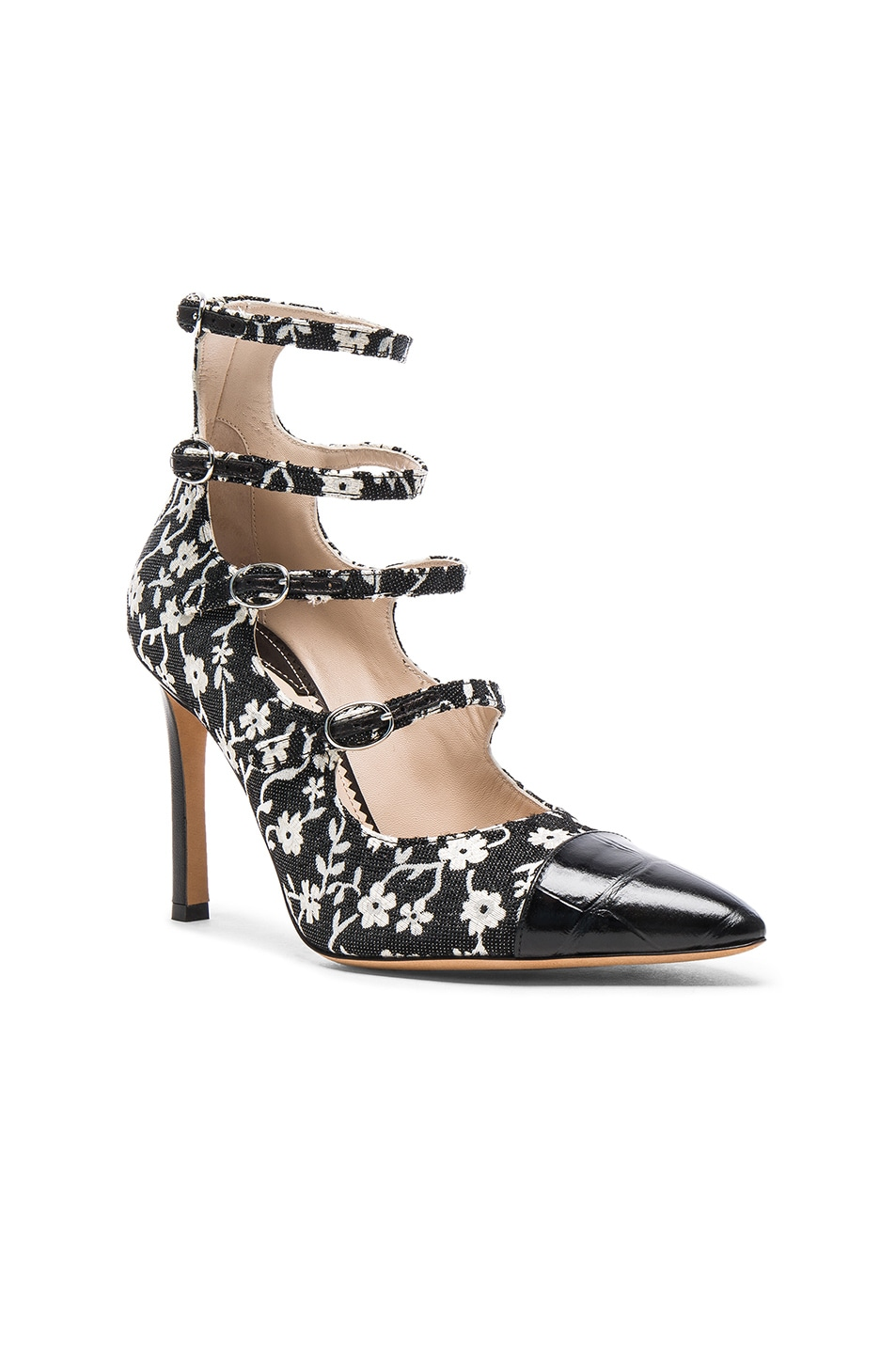 Image 2 of Altuzarra Isabella Multi Strap Mary Jane Heels in Black & Natural White