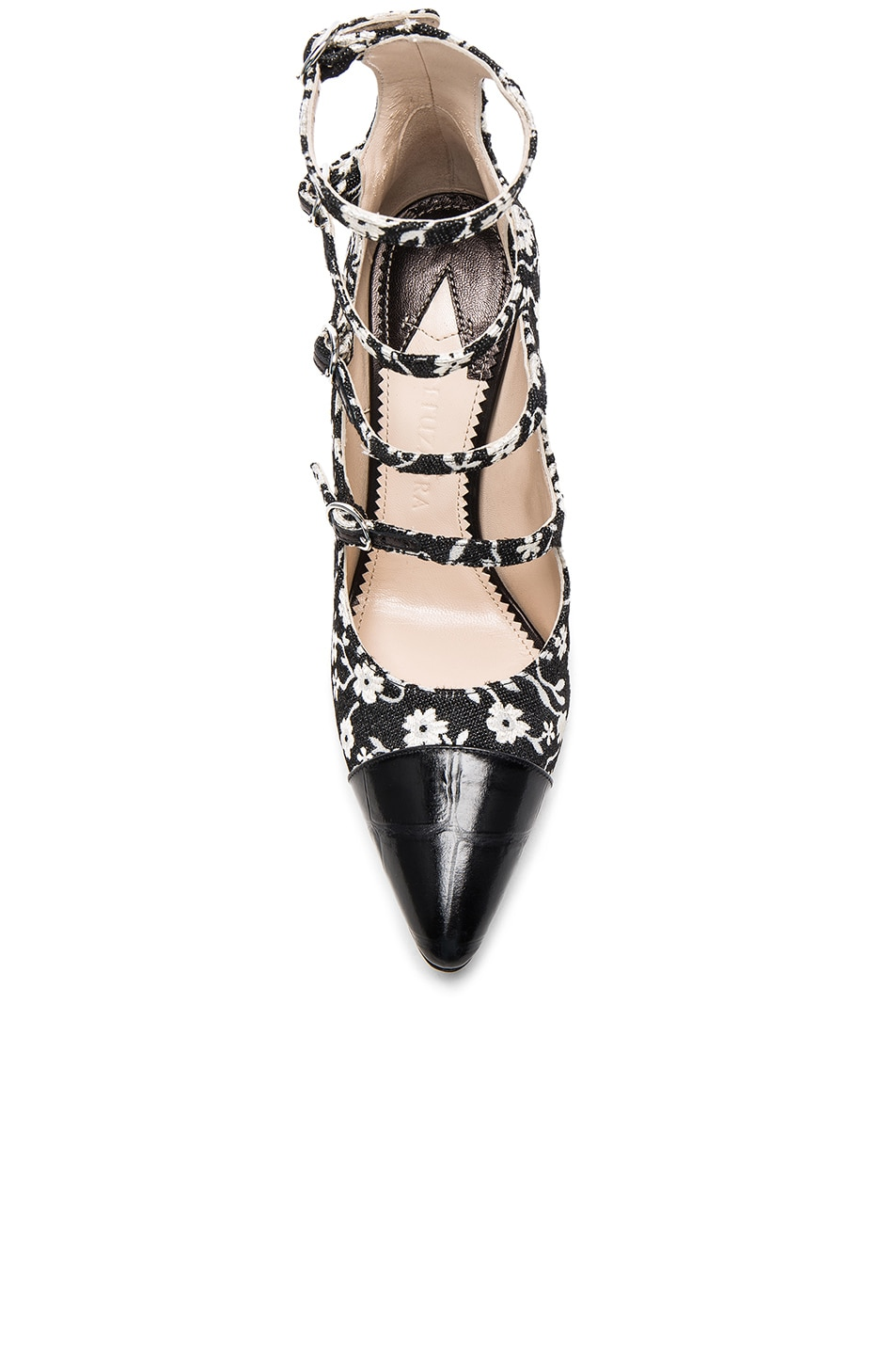 Image 4 of Altuzarra Isabella Multi Strap Mary Jane Heels in Black & Natural White