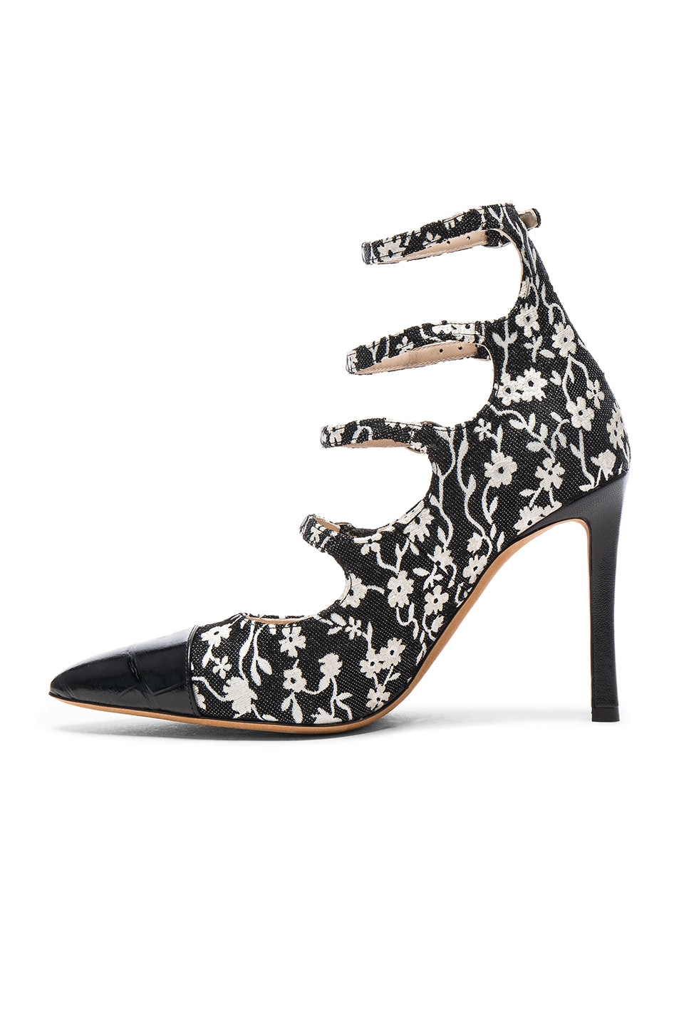 Image 5 of Altuzarra Isabella Multi Strap Mary Jane Heels in Black & Natural White