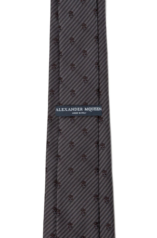 Image 2 of Alexander McQueen Skull Stripe Tie in Anthracite