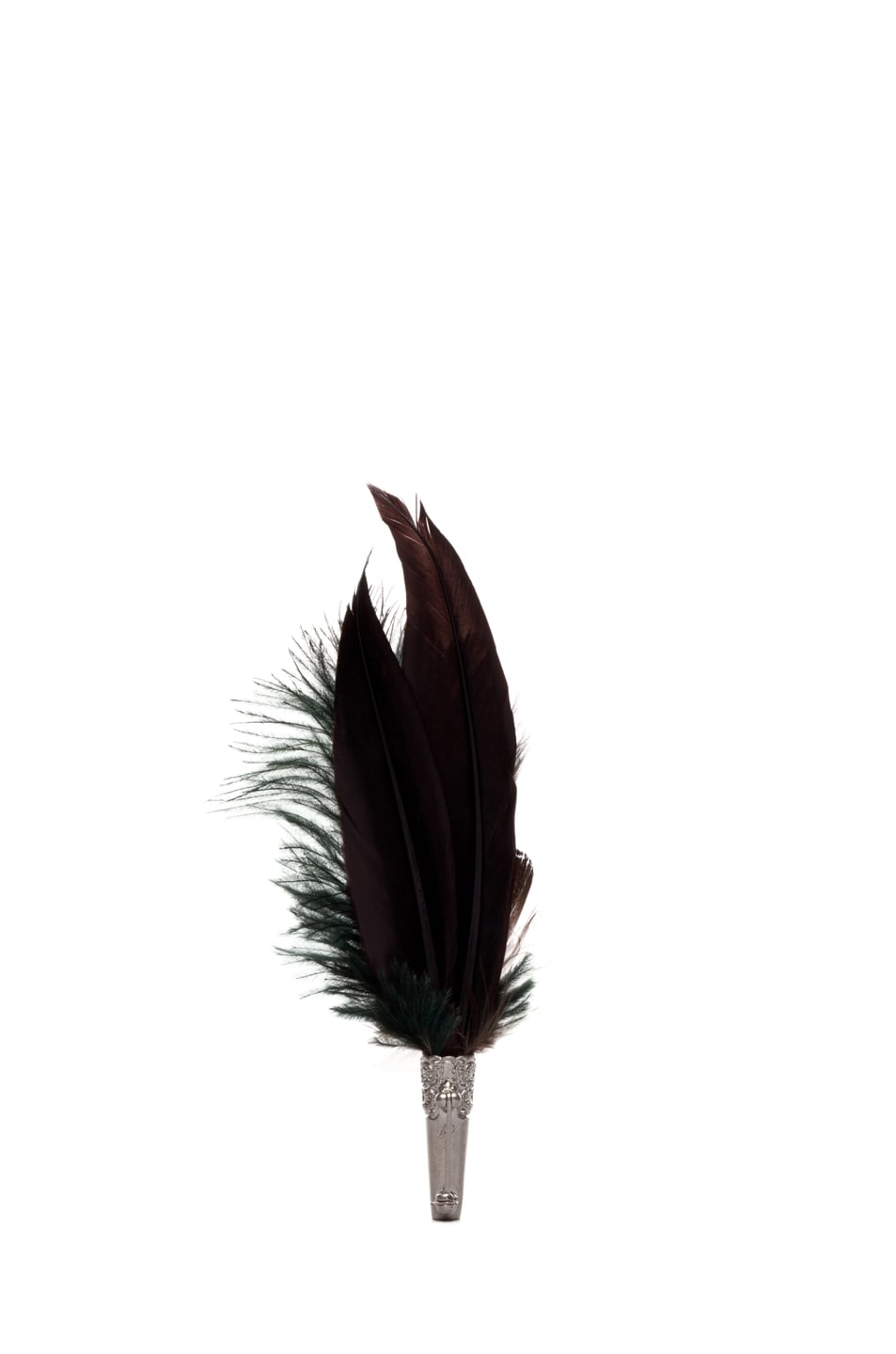 Image 3 of Alexander McQueen Short Feather Brooch in Natural