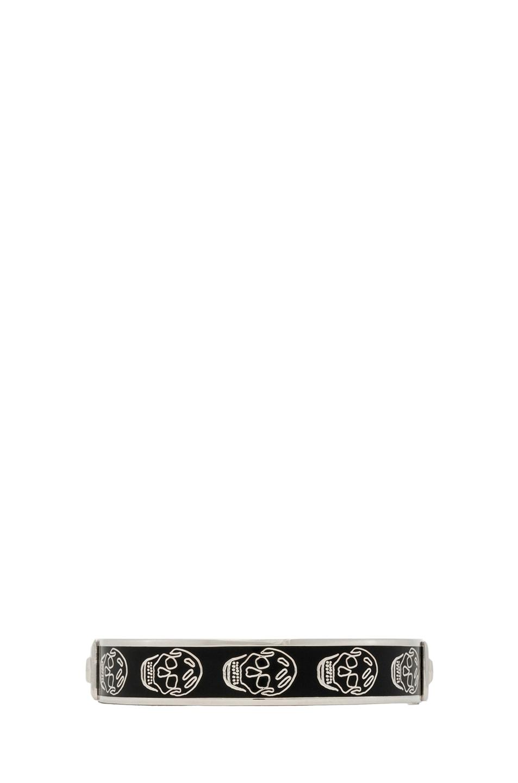Image 1 of Alexander McQueen Enamel Skull Bracelet in Black