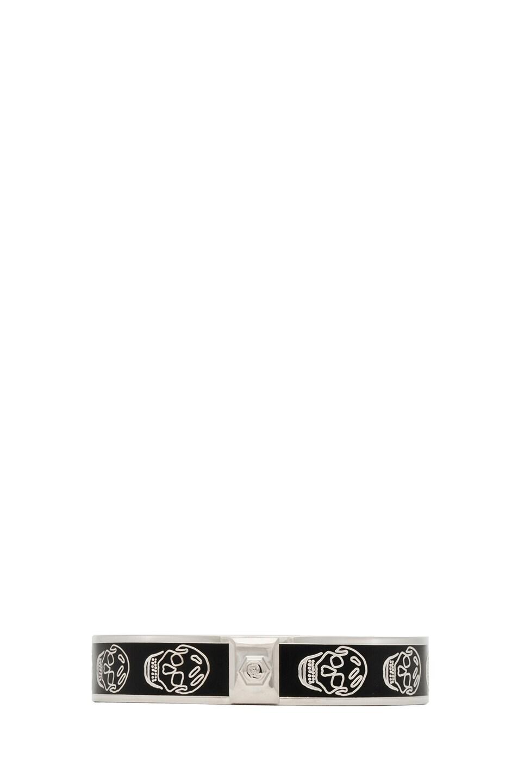 Image 2 of Alexander McQueen Enamel Skull Bracelet in Black
