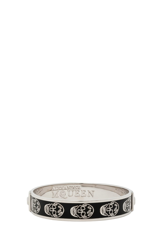 Image 3 of Alexander McQueen Enamel Skull Bracelet in Black