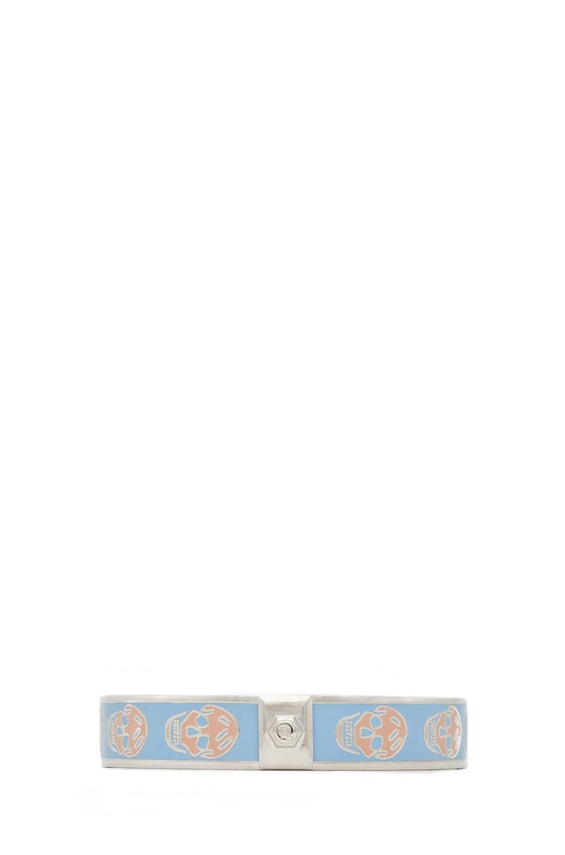 Image 2 of Alexander McQueen Enamel Skull Bracelet in Sky Blue