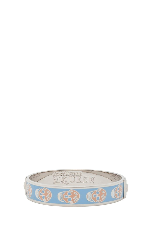 Image 3 of Alexander McQueen Enamel Skull Bracelet in Sky Blue