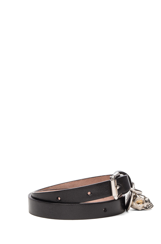 Image 2 of Alexander McQueen Double Wrap Leather Bracelet in Black