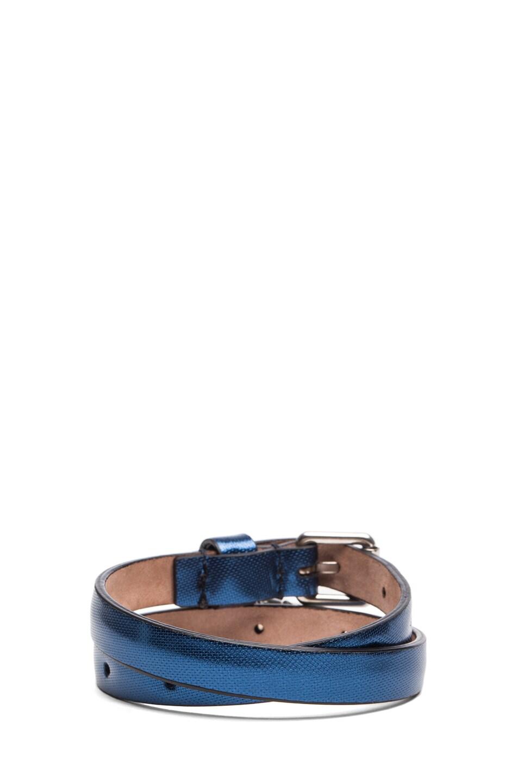 Image 3 of Alexander McQueen Skull Double Wrap Calfskin Bracelet in Blue