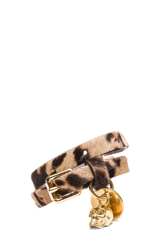 Image 1 of Alexander McQueen Double Wrap Calf Hair Bracelet in Leopard