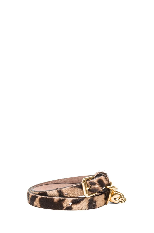Image 2 of Alexander McQueen Double Wrap Calf Hair Bracelet in Leopard