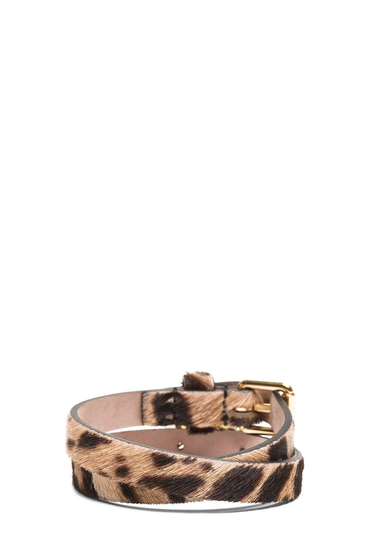Image 3 of Alexander McQueen Double Wrap Calf Hair Bracelet in Leopard
