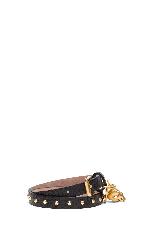 Image 2 of Alexander McQueen Double Wrap Calfskin Bracelet in Black