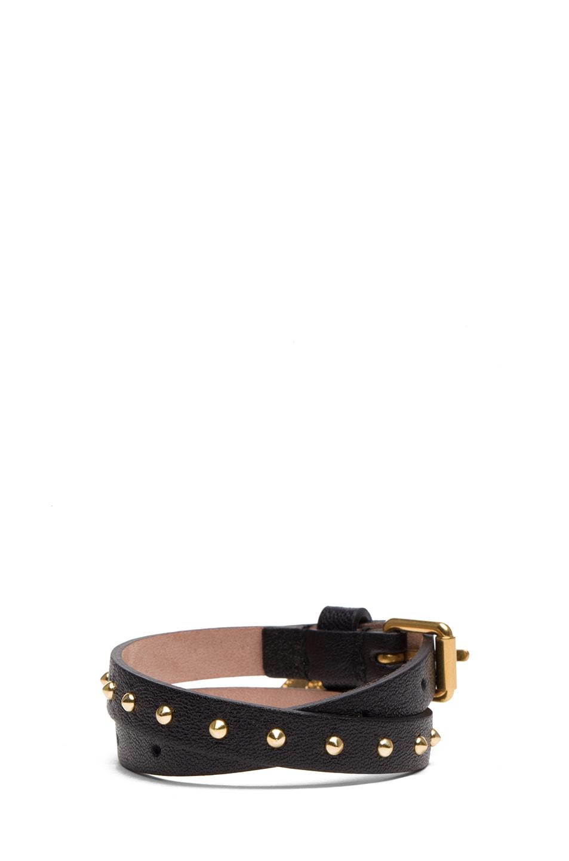 Image 3 of Alexander McQueen Double Wrap Calfskin Bracelet in Black