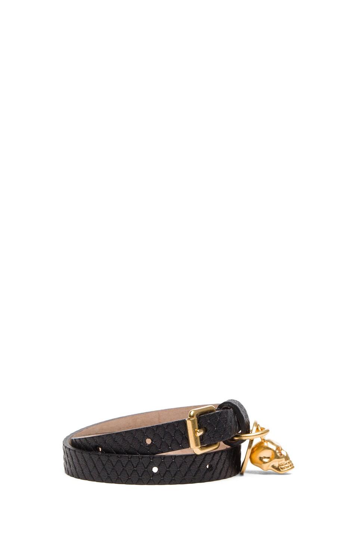 Image 2 of Alexander McQueen Double Wrap Bracelet &Gold Studs in Black