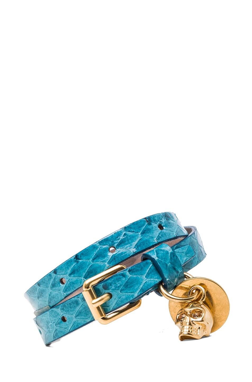 Image 1 of Alexander McQueen Double Wrap Snakeskin Bracelet in Light Petrol