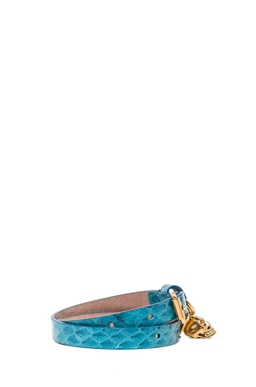 Image 2 of Alexander McQueen Double Wrap Snakeskin Bracelet in Light Petrol