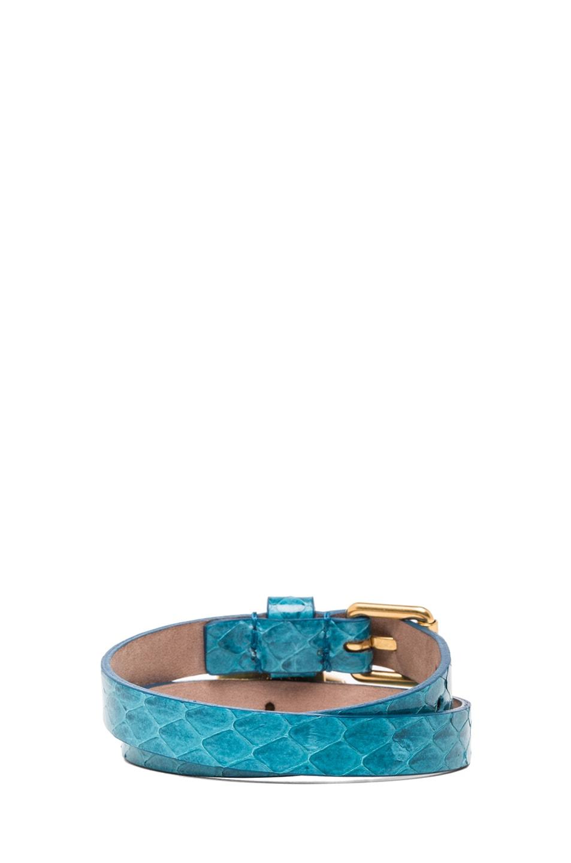 Image 3 of Alexander McQueen Double Wrap Snakeskin Bracelet in Light Petrol