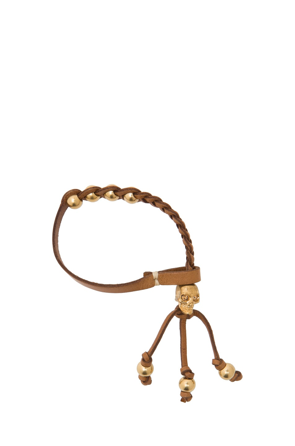 Image 1 of Alexander McQueen Calfskin Friendship Bracelet in Tan