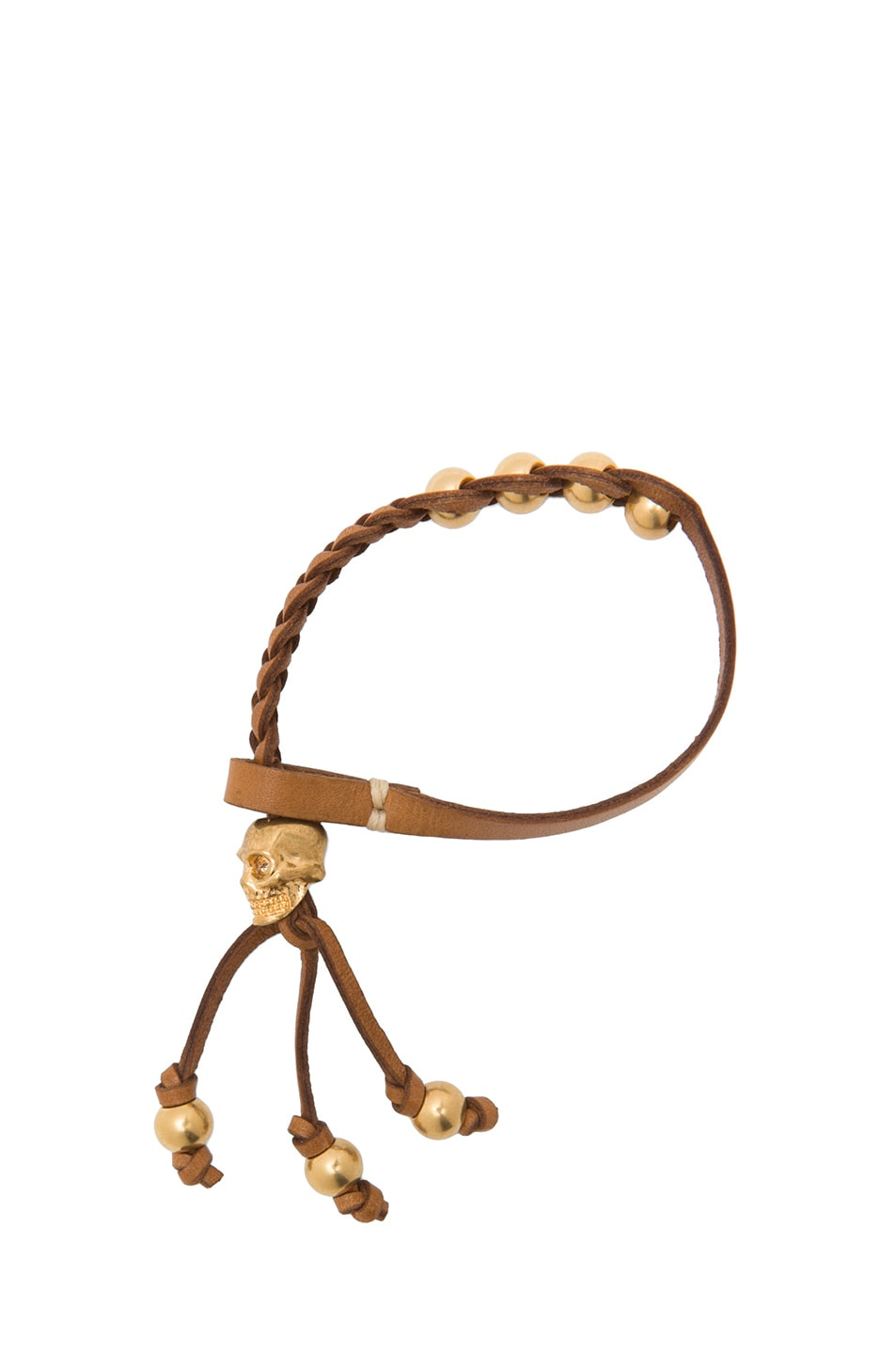 Image 2 of Alexander McQueen Calfskin Friendship Bracelet in Tan