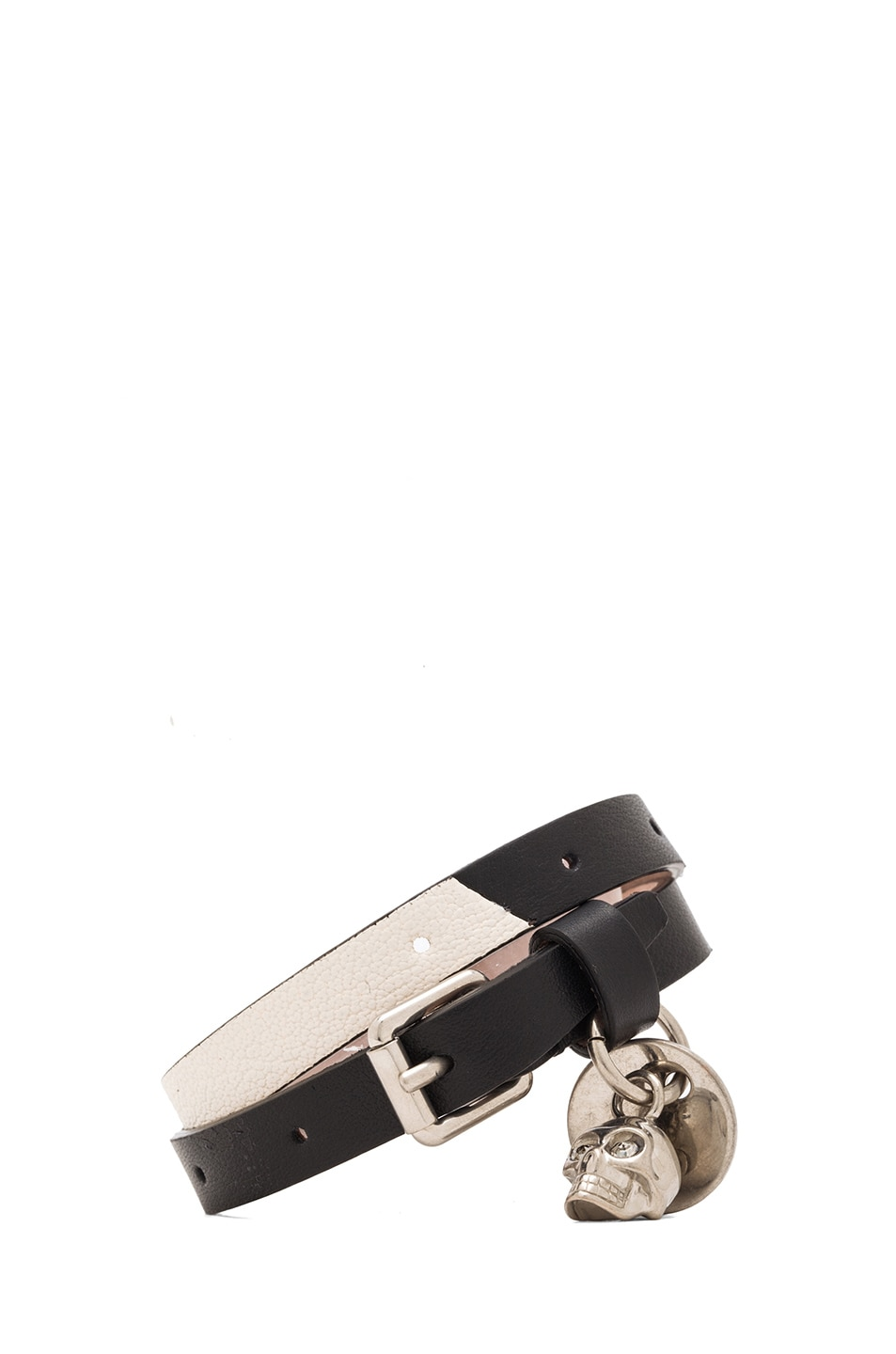 Image 1 of Alexander McQueen Double Wrap Leather Bracelet in Black & White