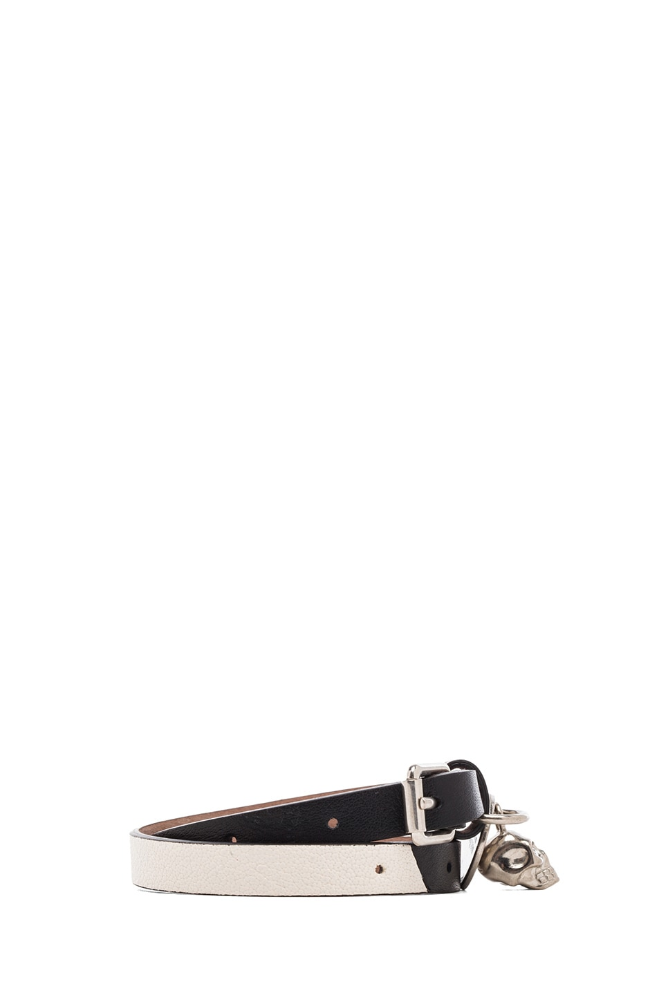 Image 2 of Alexander McQueen Double Wrap Leather Bracelet in Black & White