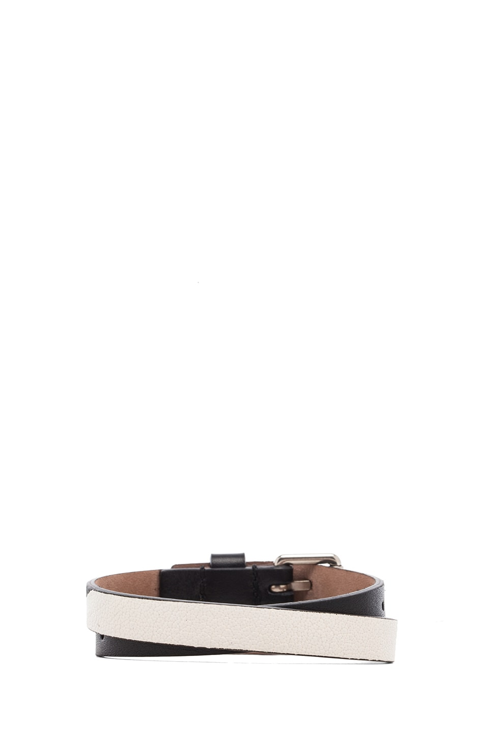 Image 3 of Alexander McQueen Double Wrap Leather Bracelet in Black & White