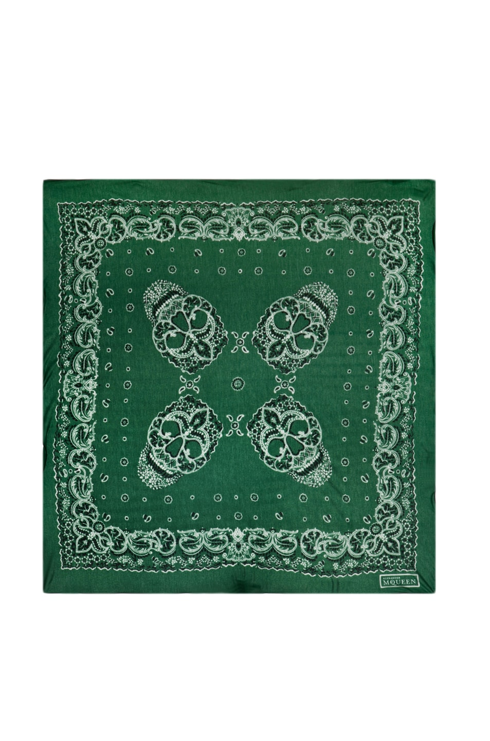 Image 1 of Alexander McQueen Paisley Skull Bandana Scarf in Green/White
