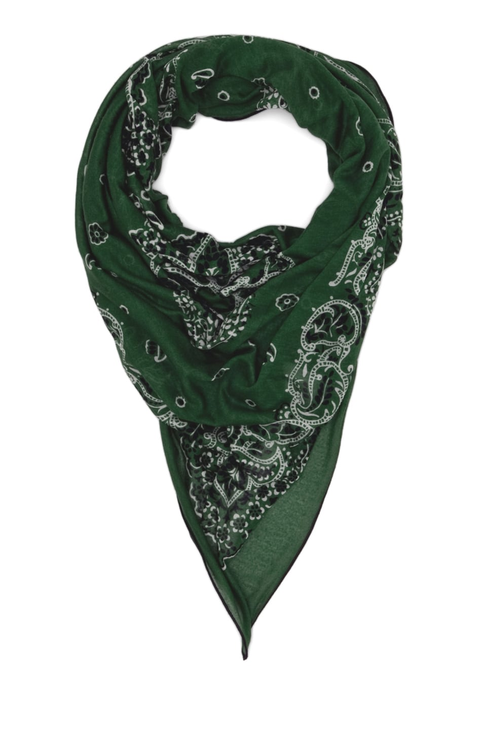 Image 2 of Alexander McQueen Paisley Skull Bandana Scarf in Green/White
