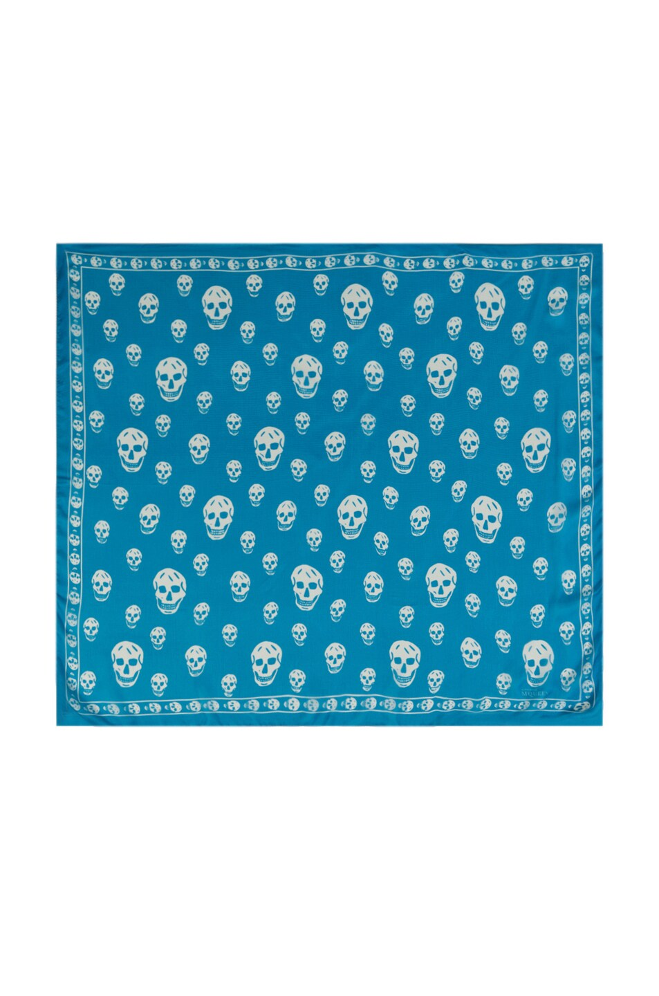 Image 1 of Alexander McQueen Skull Chiffon Scarf in Turquoise/White