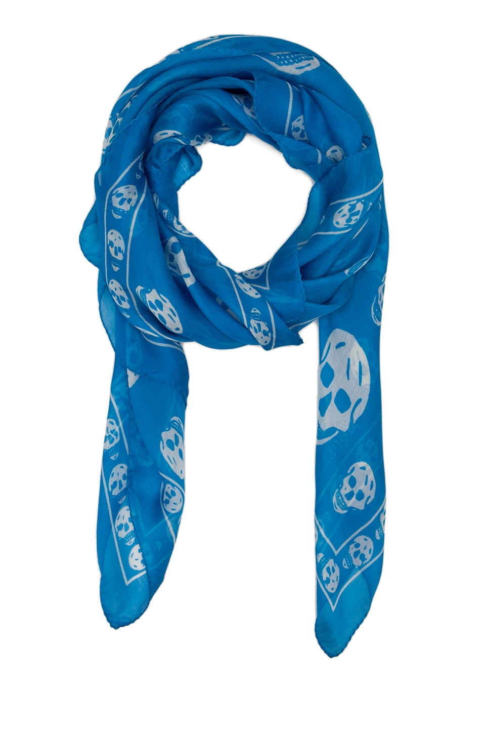 Image 2 of Alexander McQueen Skull Chiffon Scarf in Turquoise/White