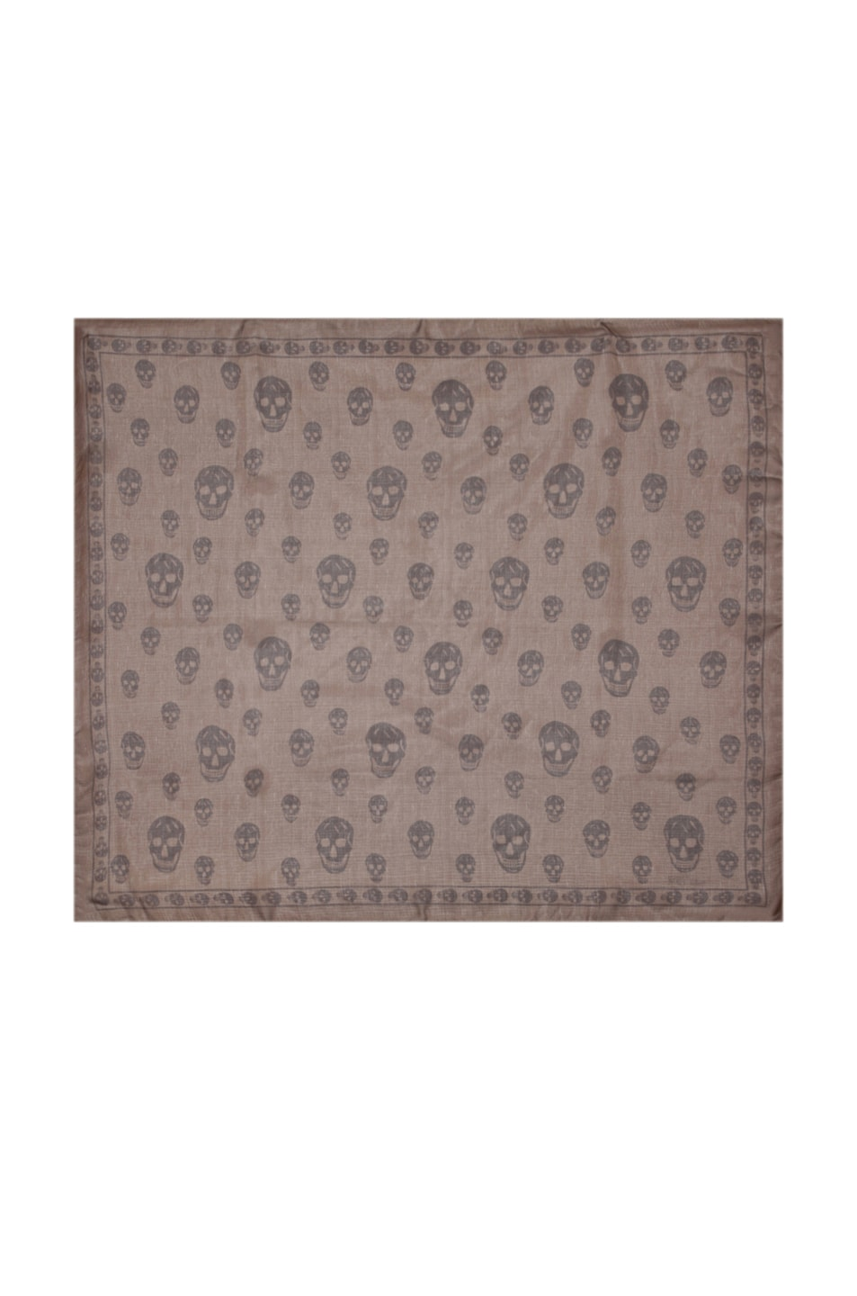Image 1 of Alexander McQueen Chiffon Skull Scarf in Dark Brown
