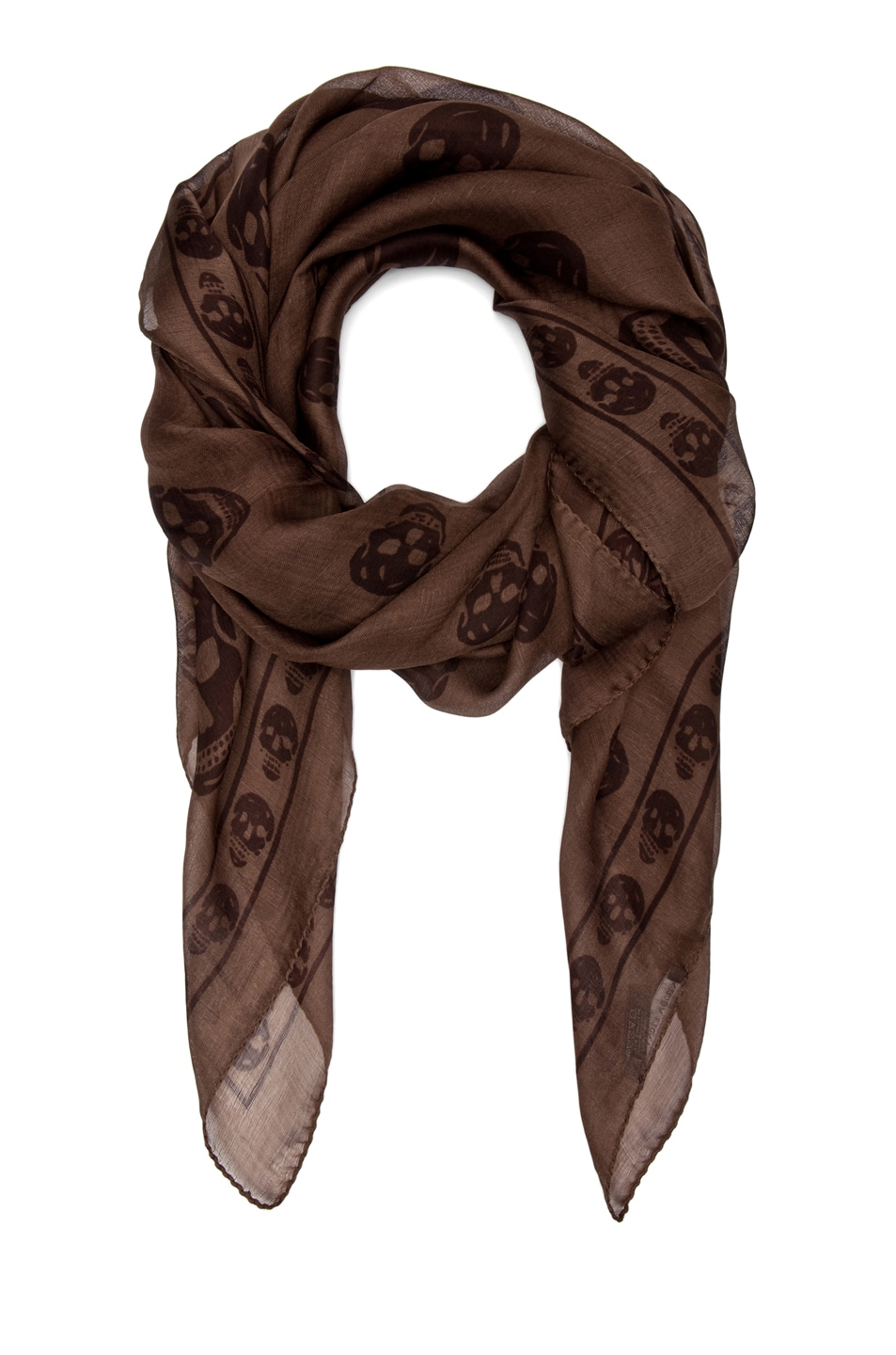 Image 2 of Alexander McQueen Chiffon Skull Scarf in Dark Brown