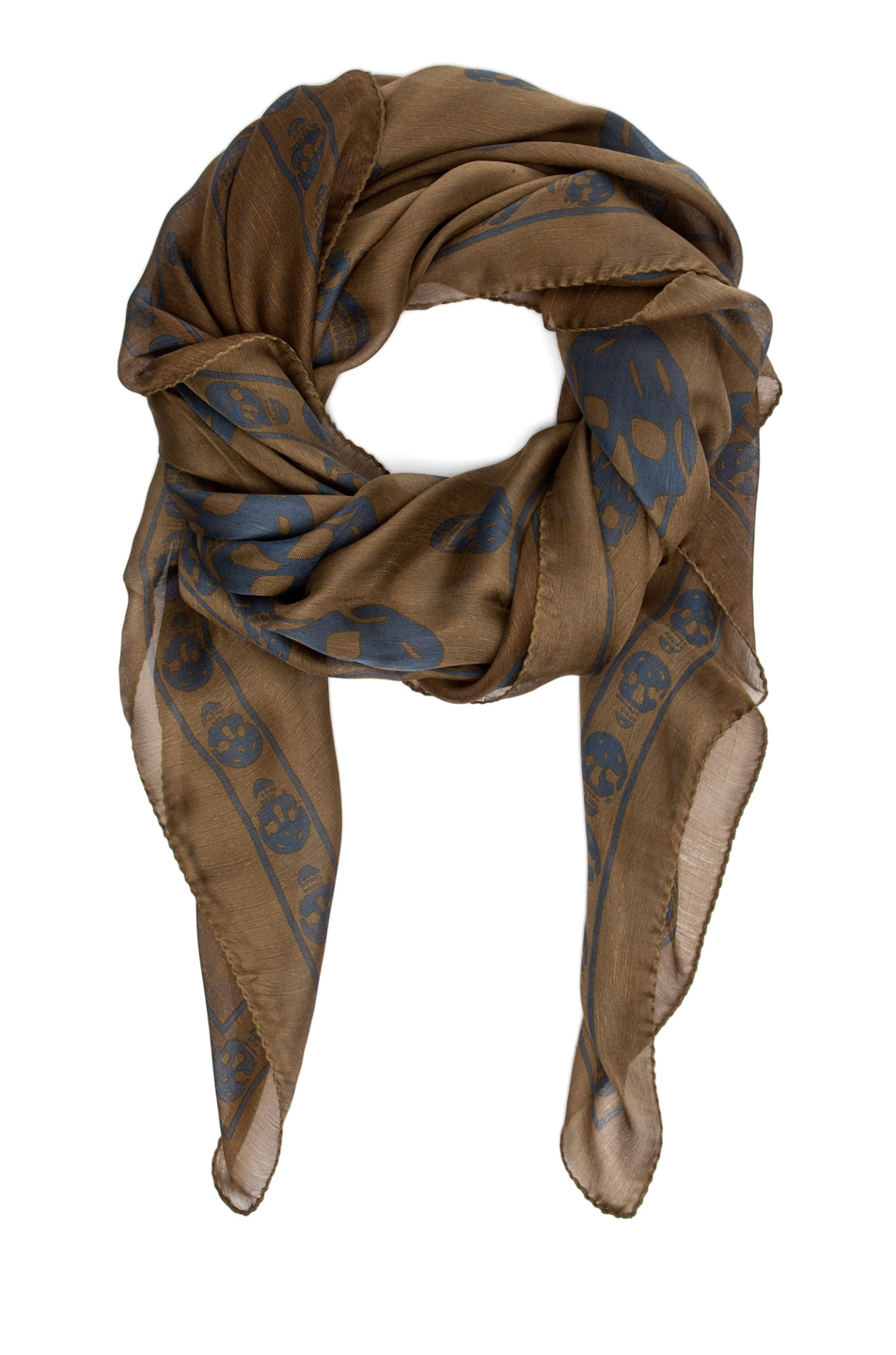Image 2 of Alexander McQueen Chiffon Skull Scarf in Olive