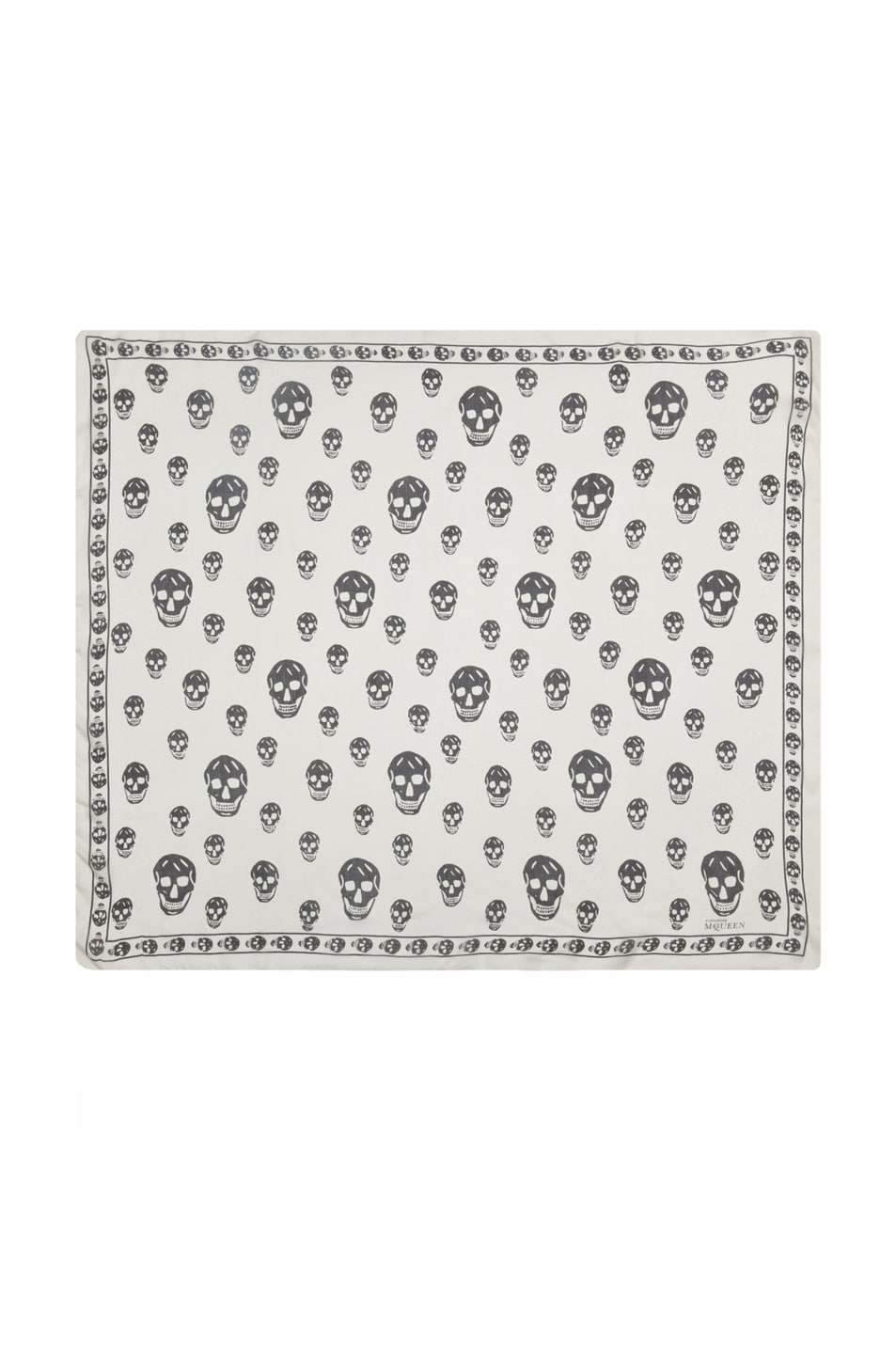 Image 1 of Alexander McQueen Chiffon Skull Scarf in Ivory & Black