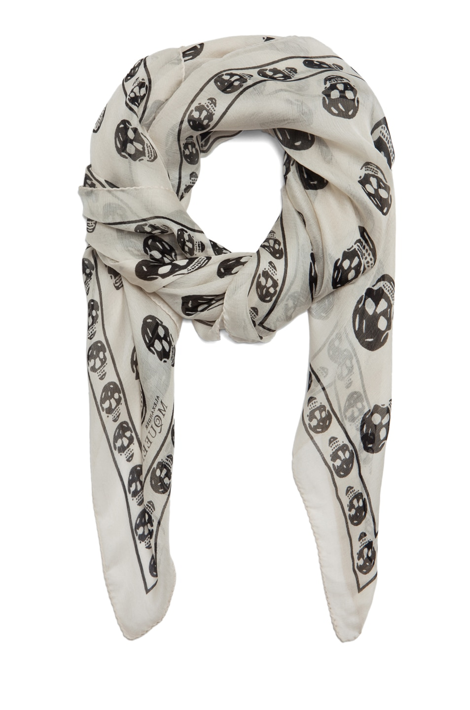 Image 2 of Alexander McQueen Chiffon Skull Scarf in Ivory & Black