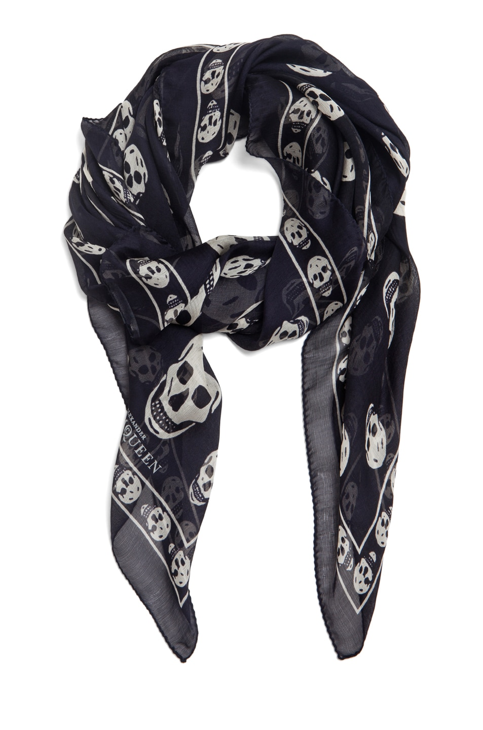 Image 2 of Alexander McQueen Chiffon Skull Scarf in Blue Marine & White