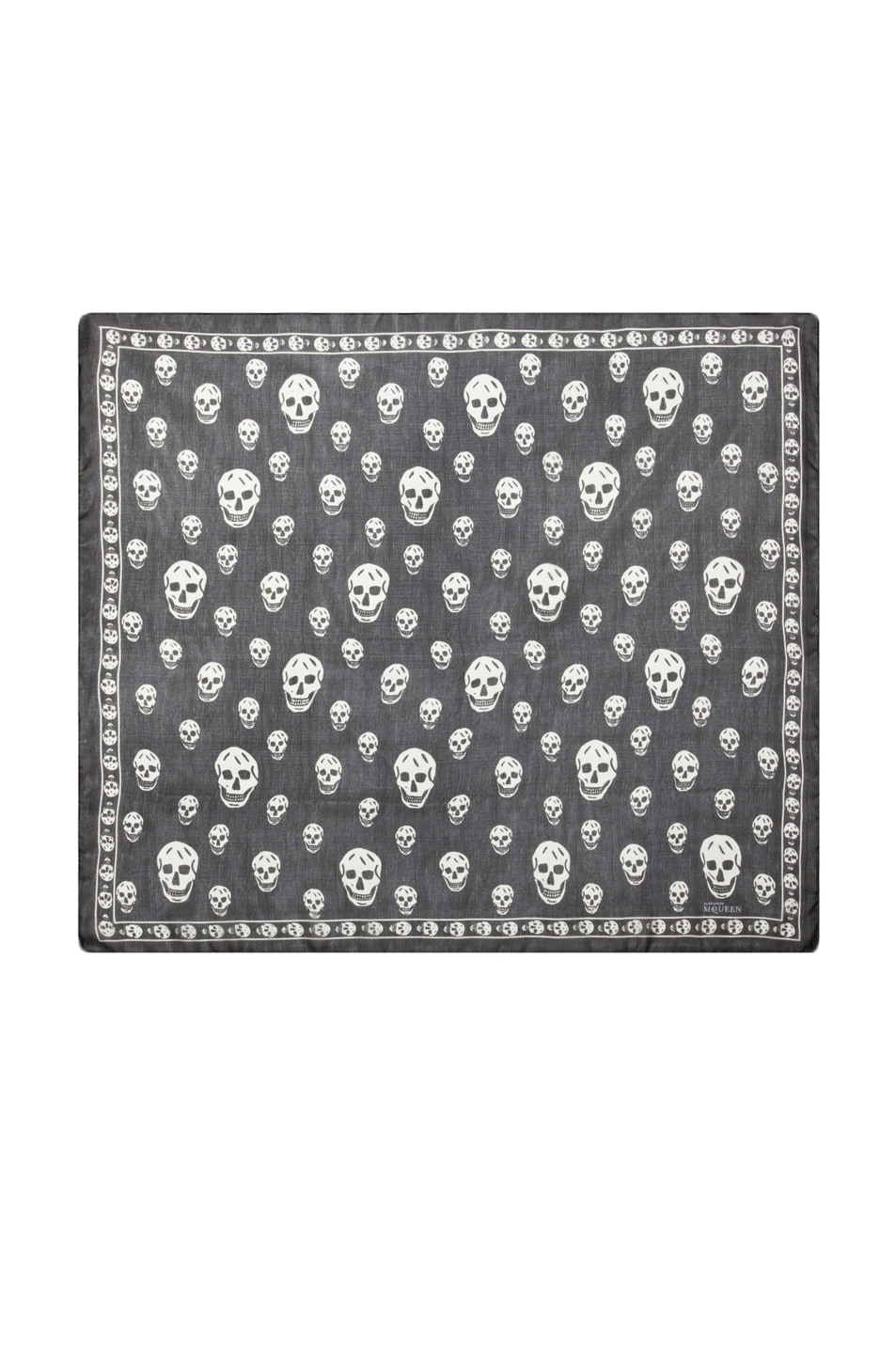 Image 2 of Alexander McQueen Printed Chiffon Skull Scarf in Black