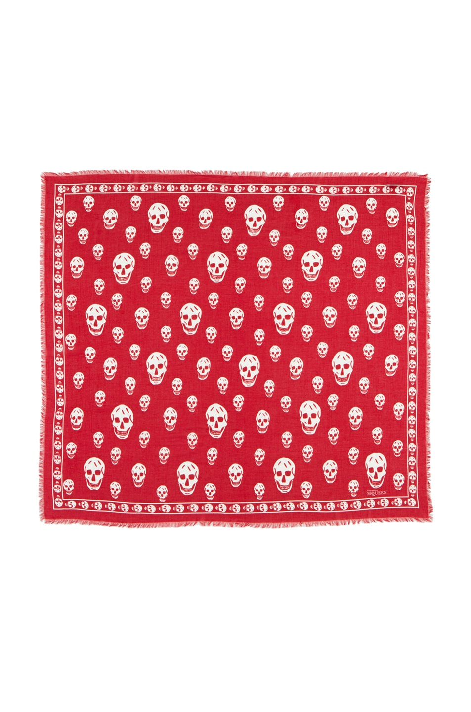 Image 1 of Alexander McQueen Modal Skull Scarf in Flame/White