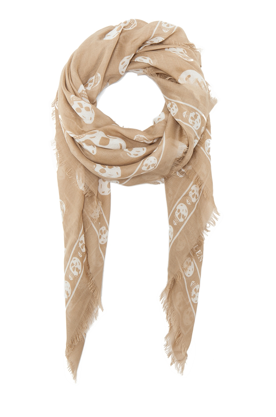 Image 2 of Alexander McQueen Modal Skull Scarf in Rope/Ivory