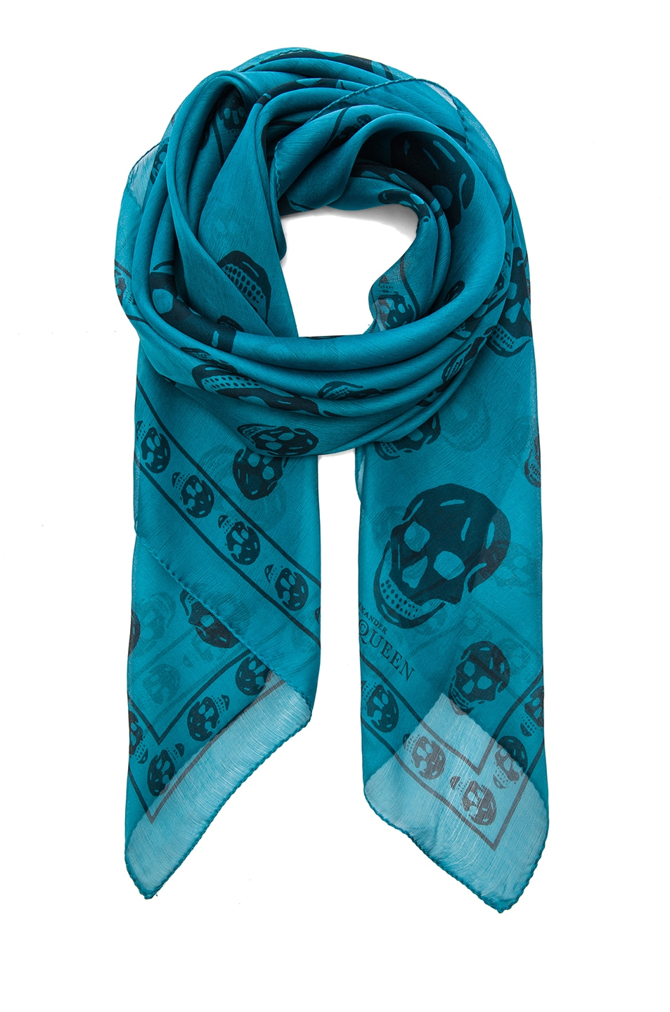 Image 1 of Alexander McQueen Skull Chiffon Scarf in Petroleum & Blue